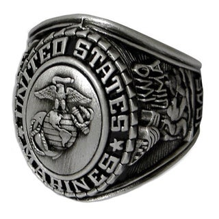 Antiqued Silvertone United States Marines Insignia Ring