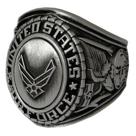 Antiqued Silvertone United States Air Force Insignia Ring