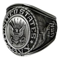 Antiqued Silvertone United States Navy Insignia Ring