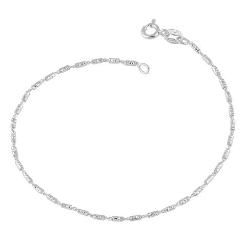 Fremada Sterling Silver 1.5-mm Diamond-cut Bar Link Bracelet (7.5 inches)