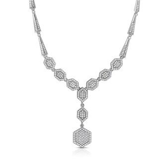 Collette Z Sterling Silver White Cubic Zirconia Pentagon Shape Necklace