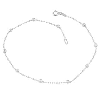 Fremada Sterling Silver High Polish and Diamond-cut Bead Station Anklet (10 inches)