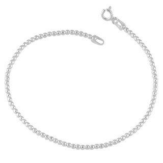 Fremada Sterling Silver 2-mm Diamond-cut Bead Bracelet (7.5 inches)