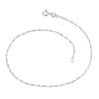Fremada Sterling Silver 1.5-mm Diamond-cut Bar Link Anklet (10 inches)