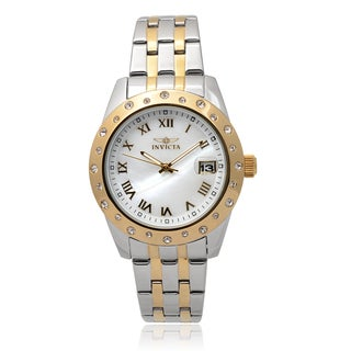 Invicta Women'S 17489 Stainless Steel 'Angel' Rhinestone Round Face Chronograph Watch