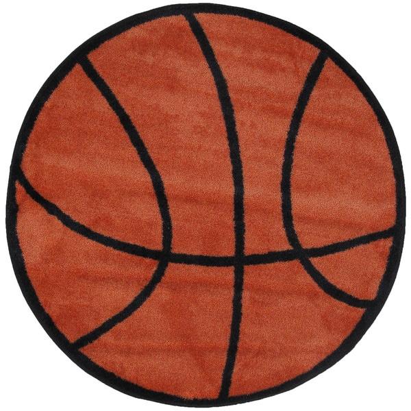 "Kids Novelty Orange Basketball Accent Rug - 3'2"" Round"