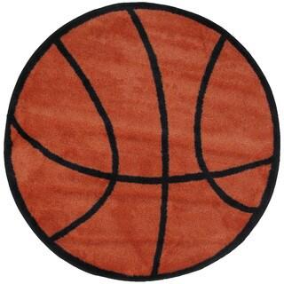 Kids Novelty Orange Basketball Accent Rug (3'2 Round)