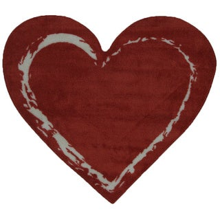 Heart Red Nylon Accent Area Rug (2'9 x 3'2)