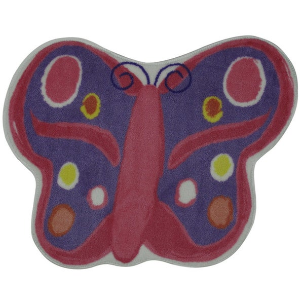 Pink and Blue Butterfly Accent Area Rug - 2'9 x 3'2