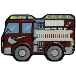 Fire Engine Red Nylon Accent Area Rug (2'6 x 3'9)