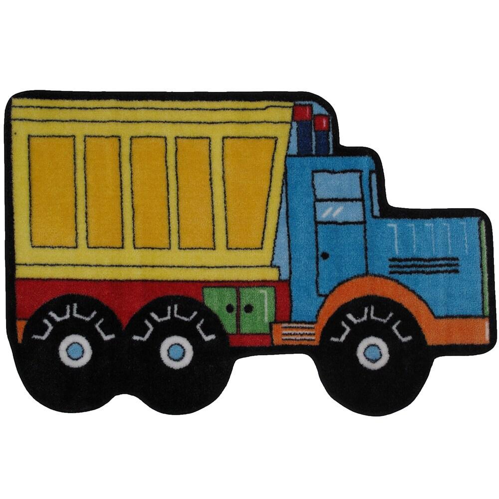 LA RUG Dump Truck Yellow Nylon Accent Area Rug (2'6 x 3'9...