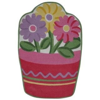 Kids' Pink Flower Pot Accent Rug (3'3 x 4'8)