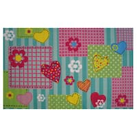 Heart and Flowers Pink Nylon Accent Area Rug - 3'3 x 4'8