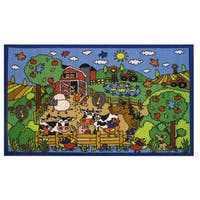 Happy Farm Blue Nylon Accent Rug - 3'3 x 4'8
