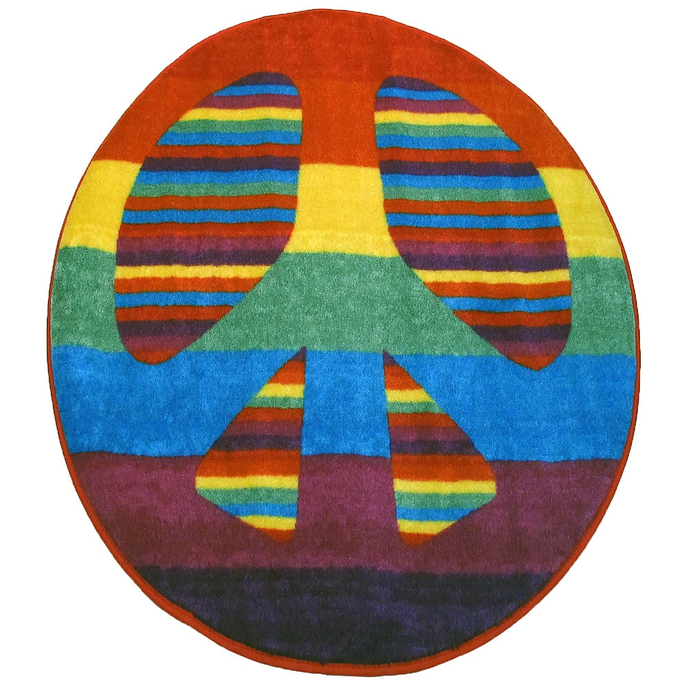 LA RUG Bright Peace Sign Accent Rug (3'2 x 3'2) (39 inch ...