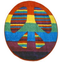 Bright Peace Sign Accent Rug