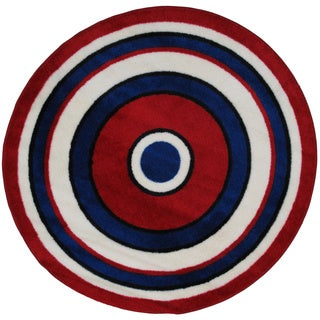 Striped Red Round Accent Rug (4'2 x 4'2)
