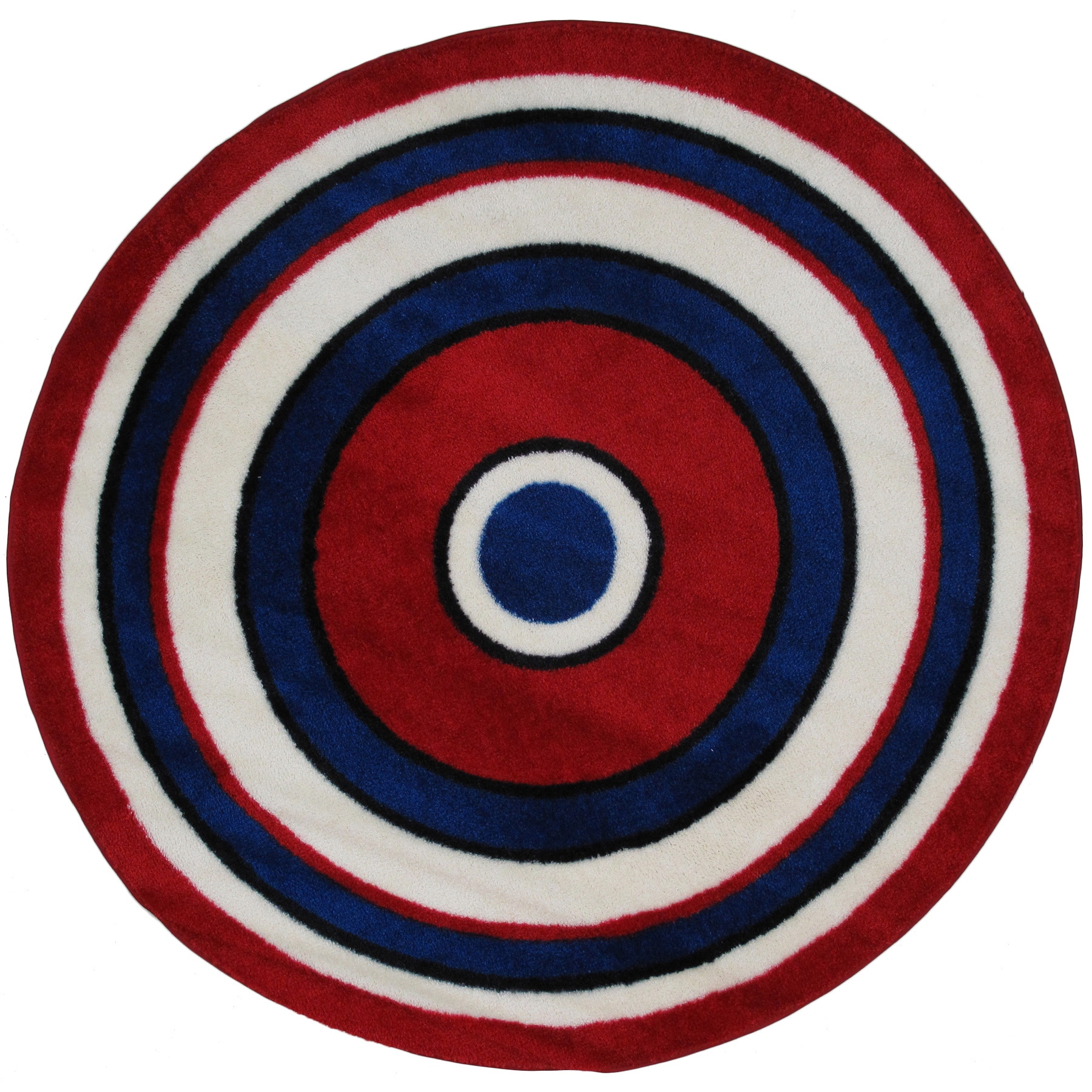 Striped Red Round Accent Rug 4 2
