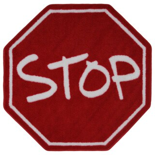 Kids' Red Stop Sign Accent Rug
