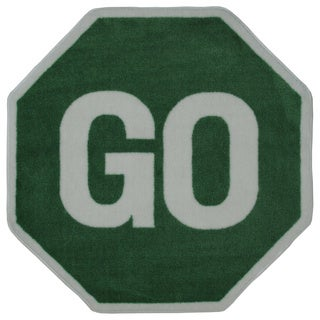 Kids' Novelty Green Go Sign Accent Rug (3'2 x 3'2)