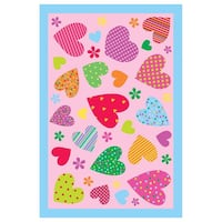 Hearts Pink Accent Rug (3'3 x 4'8)