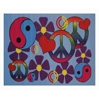 Lovely Peace Blue Accent Rug