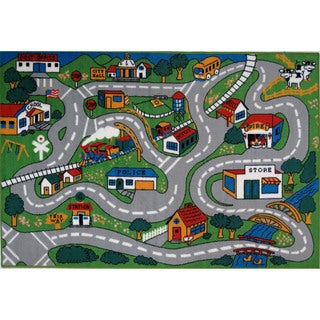 Country Fun Green Accent Rug (3'3 x 4'8)