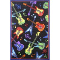 "Guitars Black Accent Rug - 3'3"" x 4'8"""