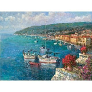 Portfolio Canvas Decor Large Printed 'Harbor View' Framed Gallery-wrapped Canvas Art