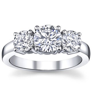 14k White Gold 1ct TDW White Diamond 3-stone Anniversary Ring