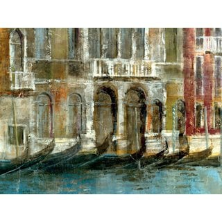 Portfolio Canvas Decor Large Printed 'Canal Facades' Framed Gallery-wrapped Canvas Art