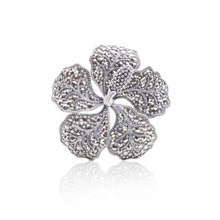 Blue Box Jewels Marcasite Blossoming Flower Shaped Brooch Pendant