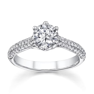 18k White Gold 1 1/3ct TDW Solitaire Diamond Micro Pave Engagement Ring