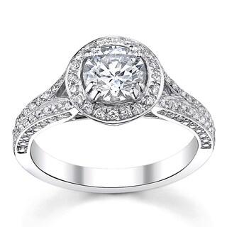 14k White Gold 1 1/2ct TDW Halo Diamond Engagement Ring