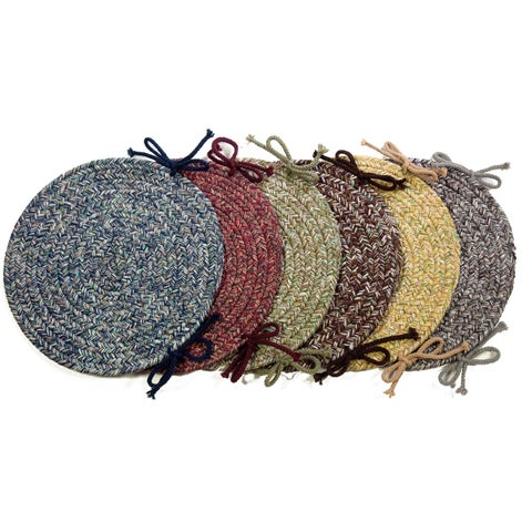 Rhody Rug Sandi Synthetic Reversible Braided Chair Pads (Set of 4)