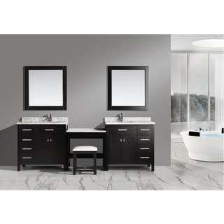 Design Element 102-inch Espresso Marble Top Bathroom Vanity with Makeup Table, and Bench Seat