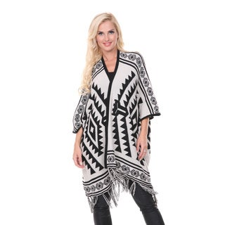 White Mark Women's Off-white Cherokee Patterned Poncho