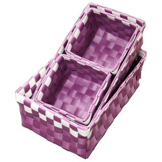 Straw Weave Purple Basket with White Accents Checkered Pattern (Set of 4)