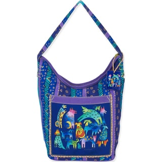 Laurel Burch Women's Blue and Purple Hobo Bag with Abstract Dog Print