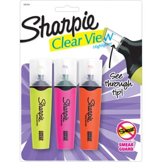 Sharpie Clear View Highlighters Yellow, Pink & Orange (Set of 3)