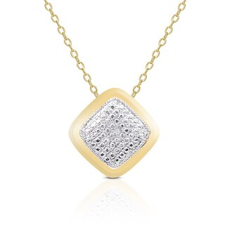 Finesque Yellow or Rose Gold Overlay Diamond Accent Necklace (3 options available)