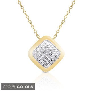 Finesque Yellow or Rose Gold Overlay Diamond Accent Necklace