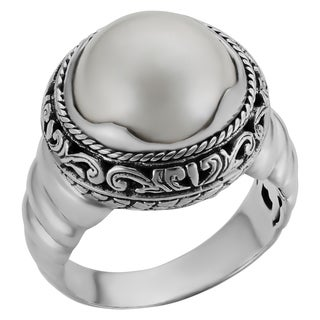 Sterling Silver Cultured Mabe Pearl Cawi Ring (Indonesia)
