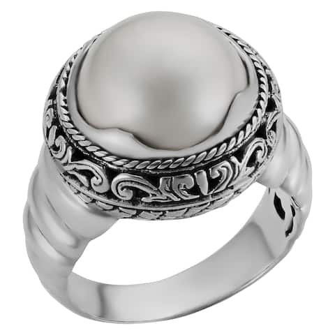 Handmade Sterling Silver Pearl Cocktail Ring (Bali)