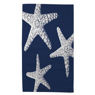 Nautical Nonsense White Blue Starfish Rug (2' x 3')