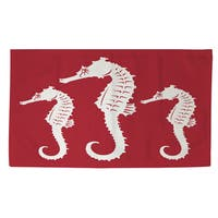 Nautical Nonsense White Red Seahorses Rug (2' x 3')