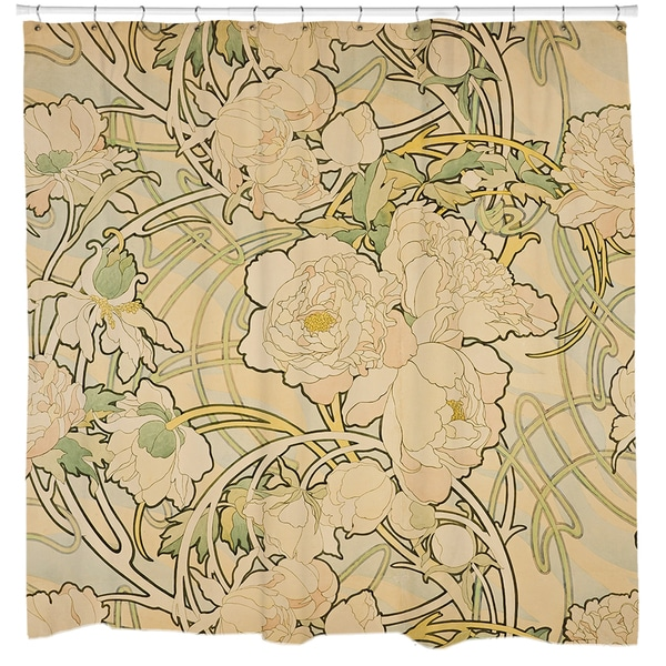 Shop Alphonse Mucha Peonies Shower Curtain