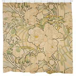 Alphonse Mucha 'Peonies' Shower Curtain