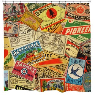 Matchboxes Collage Shower Curtain - Red