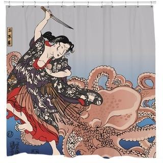 Battling the Octopus Shower Curtain